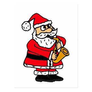 XX- Funny Santa Claus Playing the Saxophone Postcard