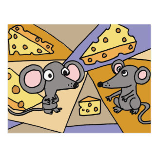 XX- Mice and Cheese Art Postcard