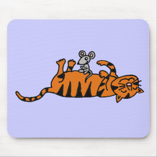 XX- Mouse Sitting on Cat Stomach Cartoon Mouse Pad