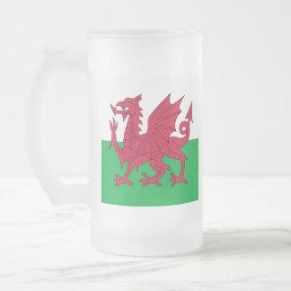 Y Ddraig Goch: Welsh Flag Beer Glass Frosted Glass Mug