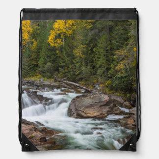 Yaak Falls In Autumn In The Kootenai National Drawstring Bag
