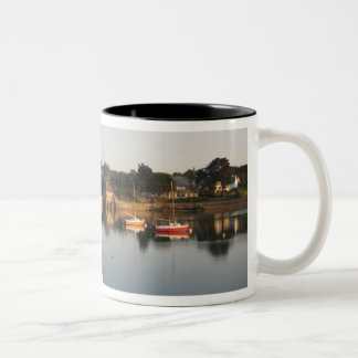 Yachts boats in the harbour at Saint Guirec France Two-Tone Mug