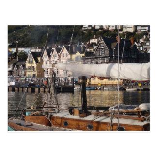 Yacht's smoking chimney. postcard