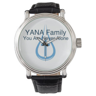 YANA male/female black vintage leather strap Watch