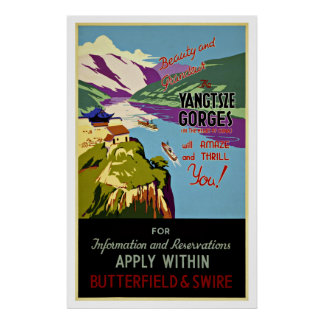 Yangtsze Gorges China - Vintage Travel Posters