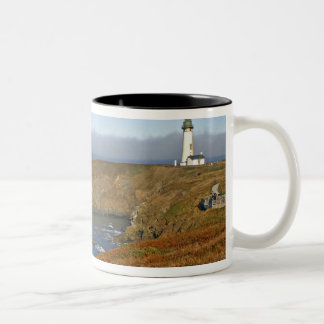Yaquina Head Lighthouse at Newport Oregon Two-Tone Coffee Mug
