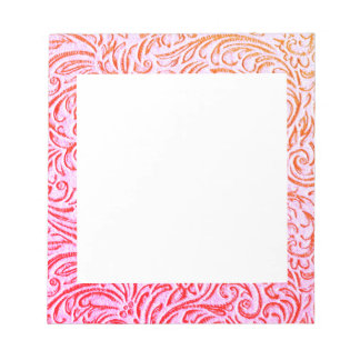 Yarrow Pink Vintage Floral Scrollwork Graphic Notepad
