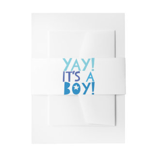 YaY It's a Boy Invitation Belly Band