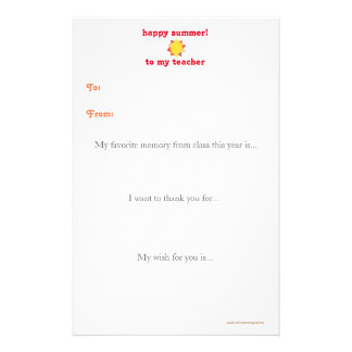 Year-end teacher thank you note - sunshine stationery