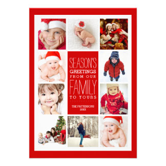 Year of Photos Season s Greetings Collage in Red Card