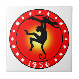 Year of the Monkey 1956 Small Square Tile