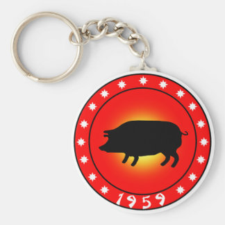 Year of the Pig  1959 Basic Round Button Key Ring