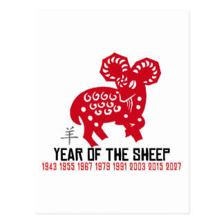 Year of The Sheep Ram Goat Postcard