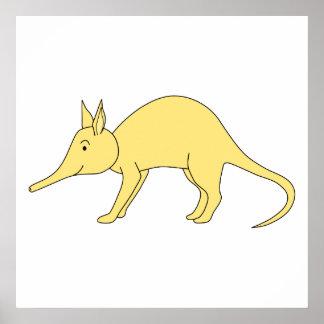 Yellow Aardvark. Cute Cartoon Animal Poster
