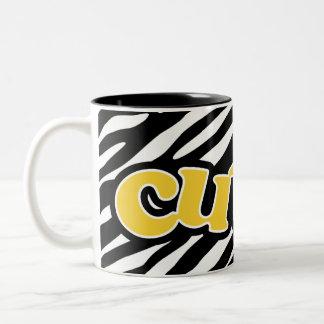 Yellow Amber Cute Zebra Stripes Coffee Mugs