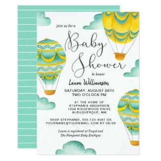 Yellow and Aqua Hot Air Balloons Baby Shower Card