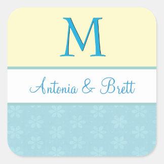 Yellow and Aqua Wedding Monogram V05 Square Sticker