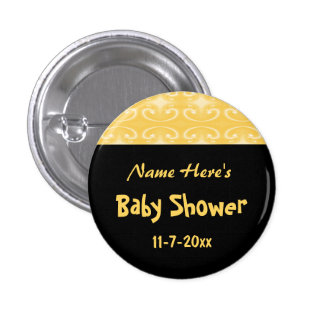 Yellow and Black Baby Shower Pinback Button