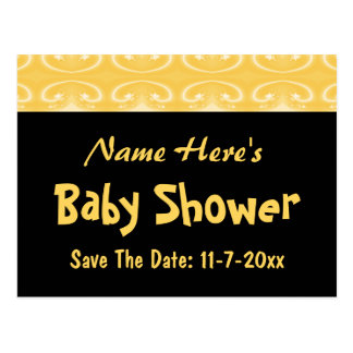 Yellow and Black Baby Shower Postcard