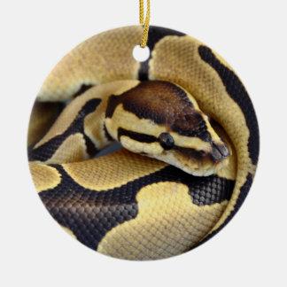 Yellow and Black Ball Python 3 Christmas Ornament