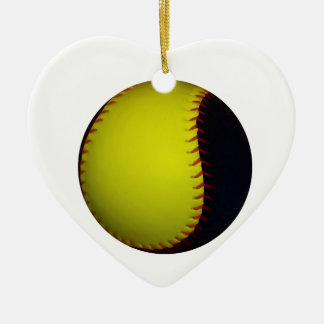 Yellow and Black Baseball / Softball Ceramic Heart Decoration
