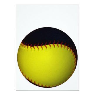 "Yellow and Black Baseball / Softball 5.5"" X 7.5"" Invitation Card"