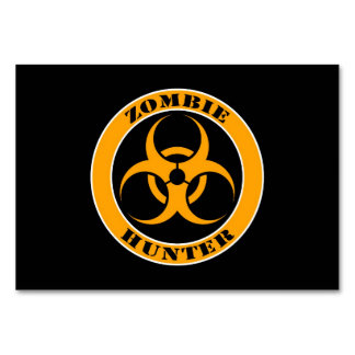 Yellow and Black Bio Hazard Zombie Hunter Table Cards