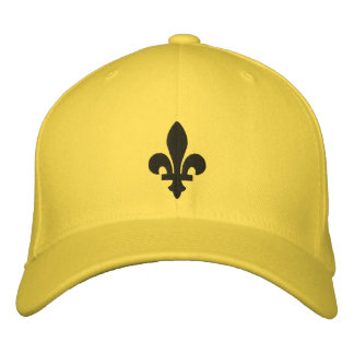Yellow and Black Fleur de lis Embroidered Hat