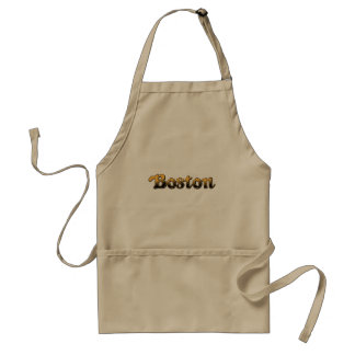 yellow and black striped Boston letters Standard Apron
