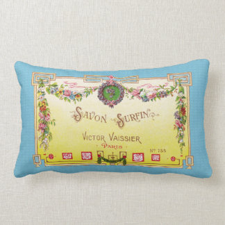 Yellow and Blue Antique French Perfume Lumbar Pillow