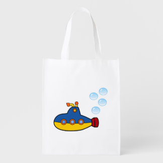Yellow and Blue Toy Submarine with Water Bubbles