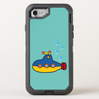 Yellow and Blue Toy Submarine with Water Bubbles OtterBox Defender iPhone 8/7 Case