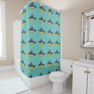 Yellow and Blue Toy Submarine with Water Bubbles Shower Curtain