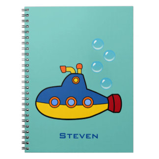 Yellow and Blue Toy Submarine with Water Bubbles Spiral Note Book