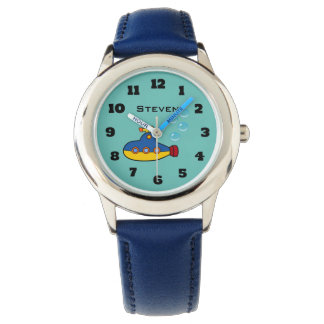 Yellow and Blue Toy Submarine with Water Bubbles Wrist Watches