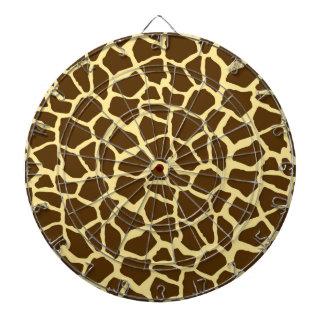 Yellow and Brown Giraffe Animal Print Dartboard