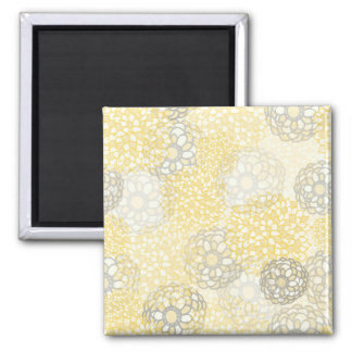 Yellow and Clay Flower Burst Design Square Magnet