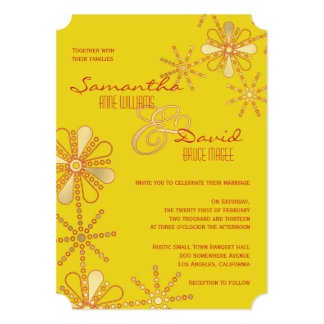 Yellow and Gold Indian Inspired Wedding Card