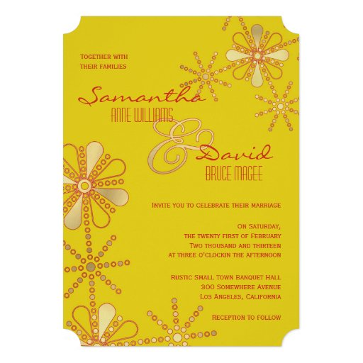 Yellow and Gold Indian Inspired Wedding Personalized Invite