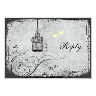 Yellow and Gray Birdcage Lovebirds Reply Card 9 Cm X 13 Cm Invitation Card