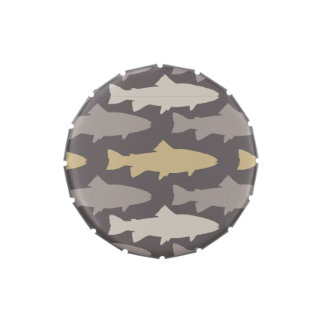 Yellow and Gray Fun Trout Fish Pattern Jelly Belly Tin