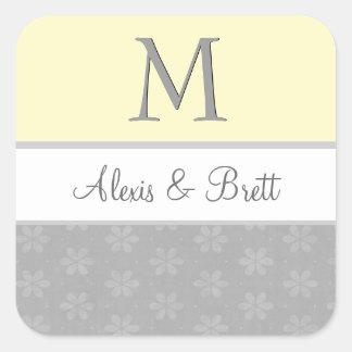 Yellow and Gray Wedding Monogram V04 Sticker