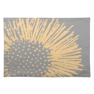Yellow and Grey Abstract Floral Placemat