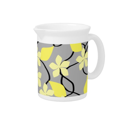 Yellow and Grey Flowers. Floral Pattern. Pitcher