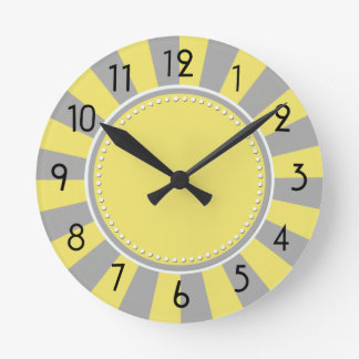 Yellow and Grey Starburst Stripes Clock