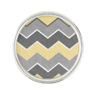 Yellow and Grey Zig Zag Pattern Lapel Pin