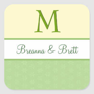 Yellow  and Lime Green Wedding Monogram V08 Square Stickers