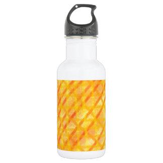 Yellow and Orange Crosshatch Design 532 Ml Water Bottle