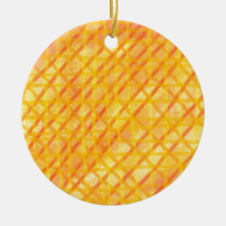 Yellow and Orange Crosshatch Design Products Round Ceramic Decoration
