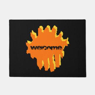 yellow and orange design doormat